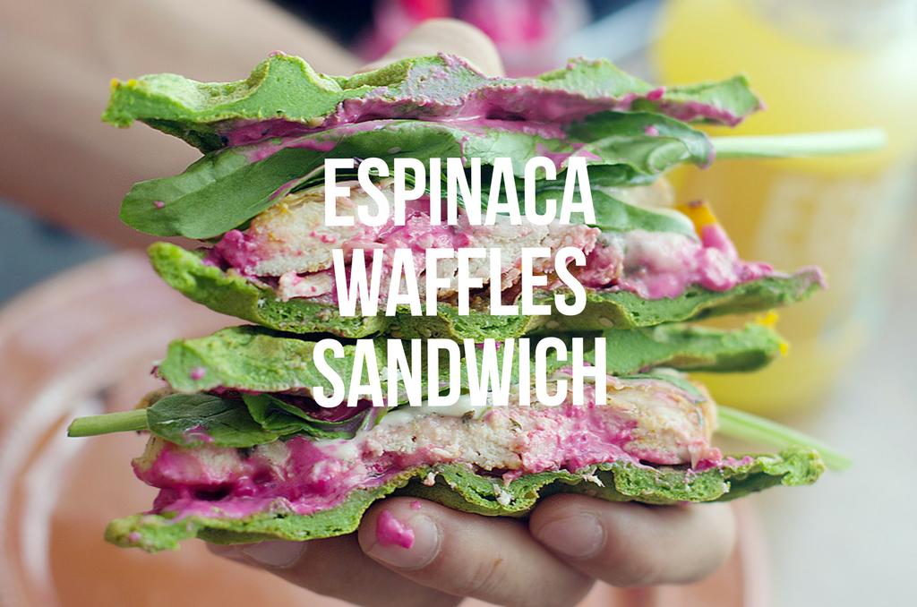 RECETA WAFFLES SALADOS DE ESPINACA Y SANDWICH#Glutenfree