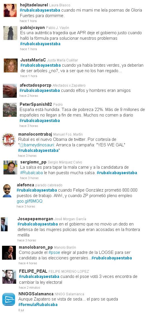 Algunos twits destacados contrarios al candidato del PSOE para las elecciones generales, Alfredo Pérez Rubalcaba