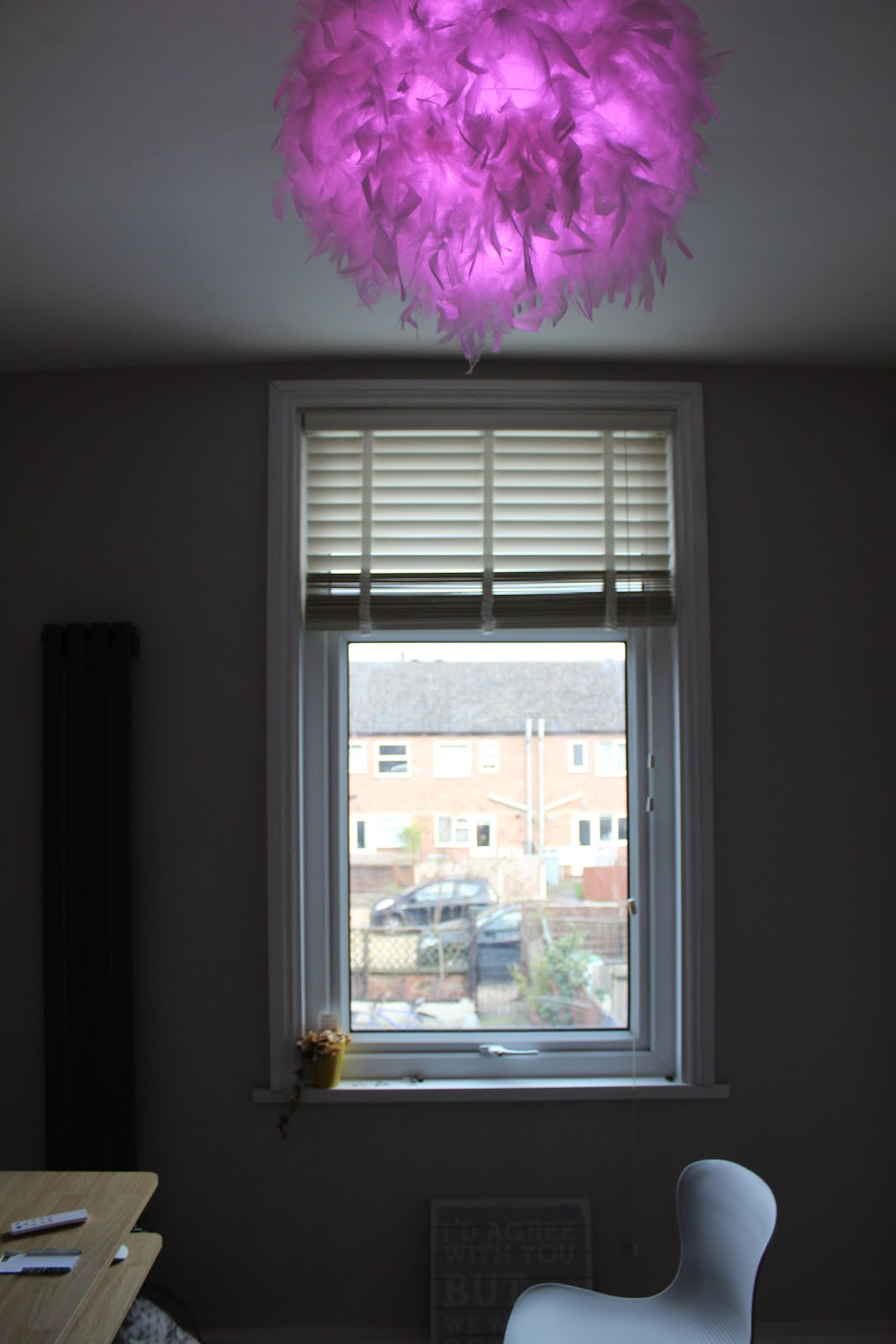 Pink Feather Ceiling Light