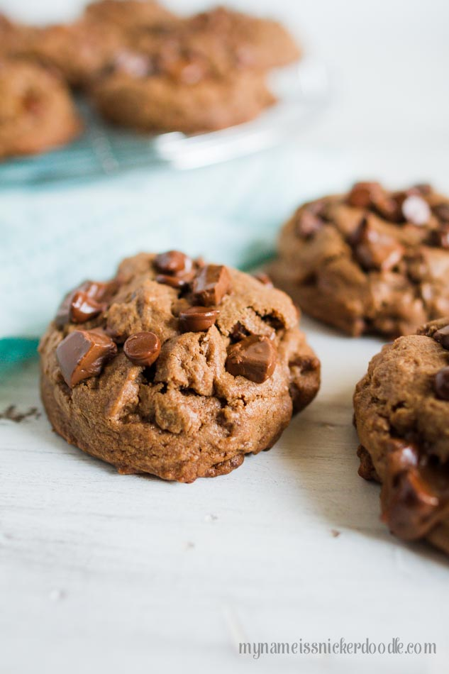 Triple Chocolate Chunk Cookies  |  mynameissnickerdoodle.com