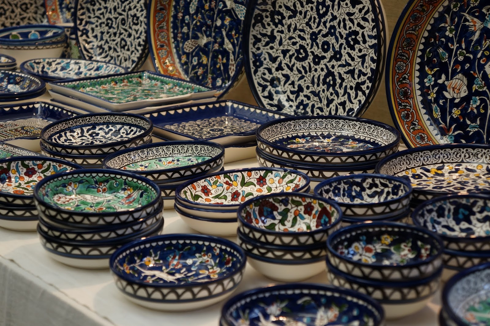 ornamental plates at greenwich market stall