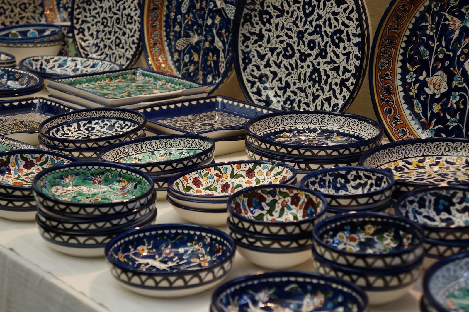ornamental plates at greenwich market stall