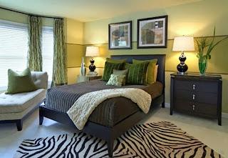 dormitorio verde marrón y blanco