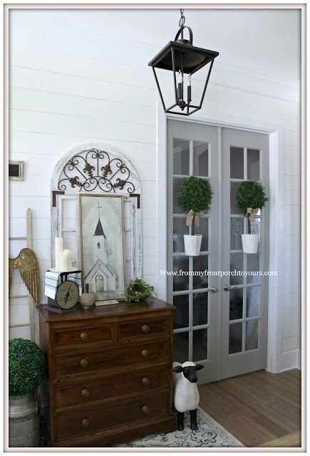 French Country-French Farmhouse-Cottage Style-Shiplap Wall-Carriage House Lighting-Sherwin Williams Dorian Gray-Foyer-From My Front Porch To Yours