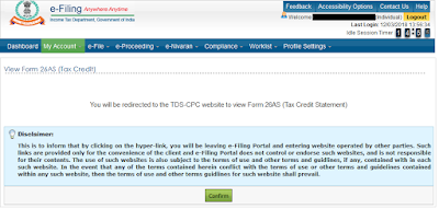 Confirm that you want to go to the TDS-CPC website to view Form 26AS