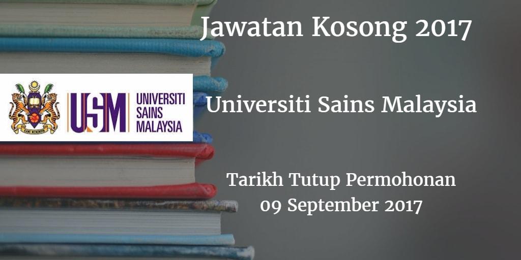 Jawatan Kosong USM 09 September 2017