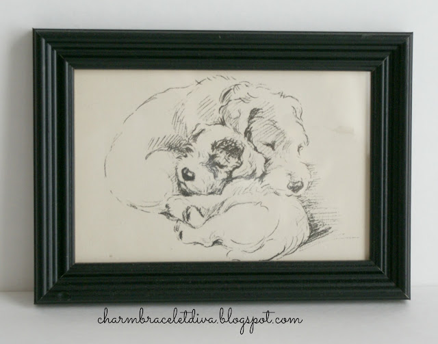 vintage drawing mom terrier and pup terrier