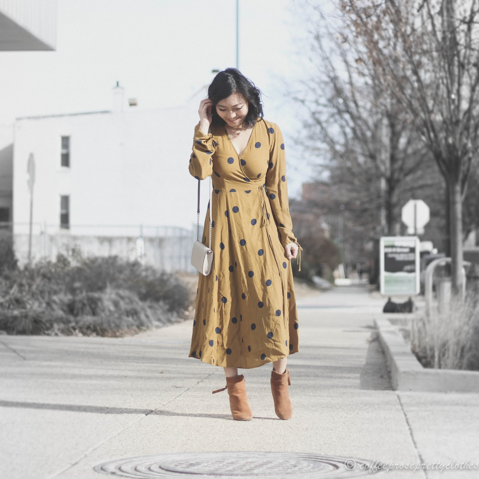Urban Outfitters Audrey Wrap Midi Dress, Sole Society Flynn, Kate Spade crossbody