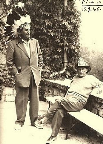 René Char et Pablo Picasso en 1965