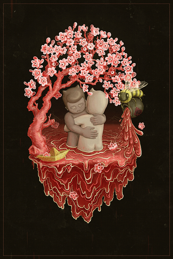 ©Huihong Huang - Tres Ilustraciones - 桃花潭水 - Peach Blossom Pool
