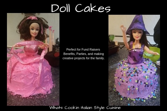 this is a doll cake with the Halloween theme  or the breast cancer awareness pink frosting doll