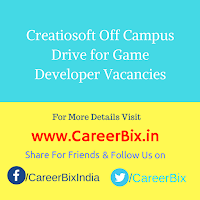 Creatiosoft Off Campus Drive for Game Developer Vacancies