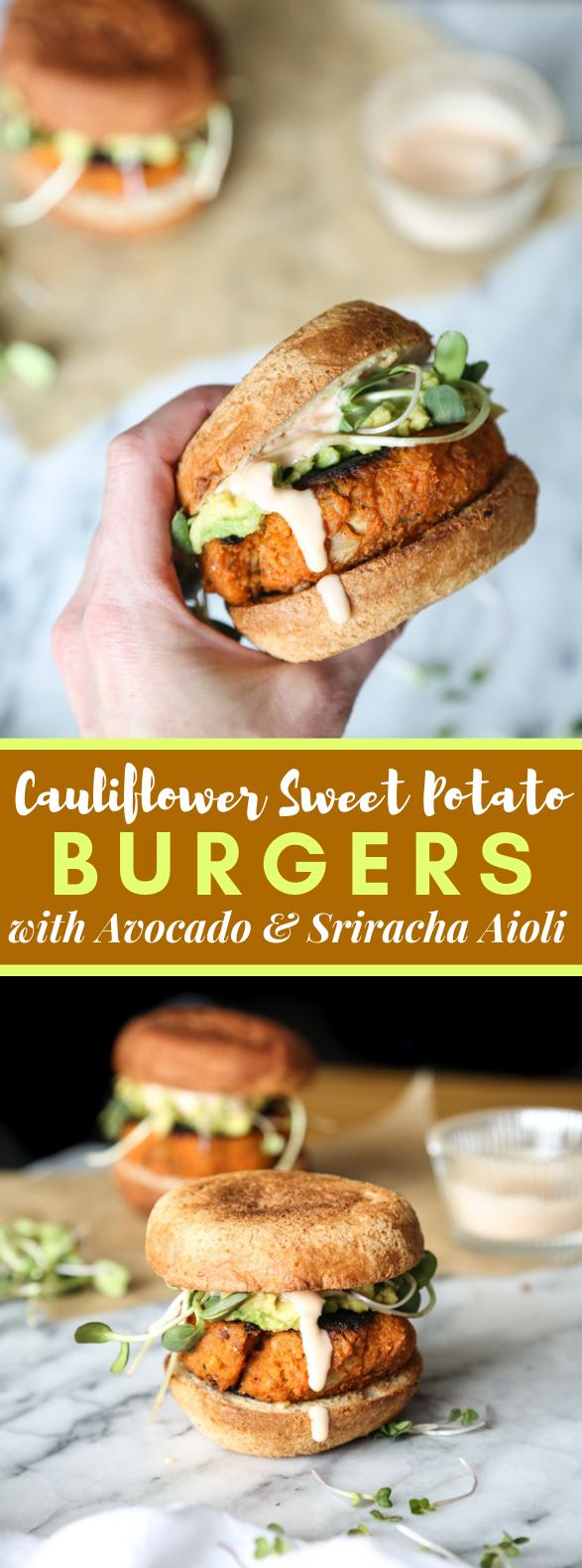 Cauliflower Sweet Potato Burgers with Avocado and Sriracha Aioli (Vegetarian Paleo) #veggies #recipes