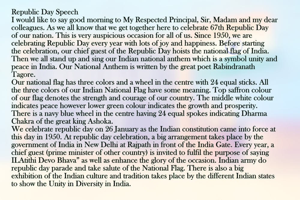 Republic Day Speech In English Pdf