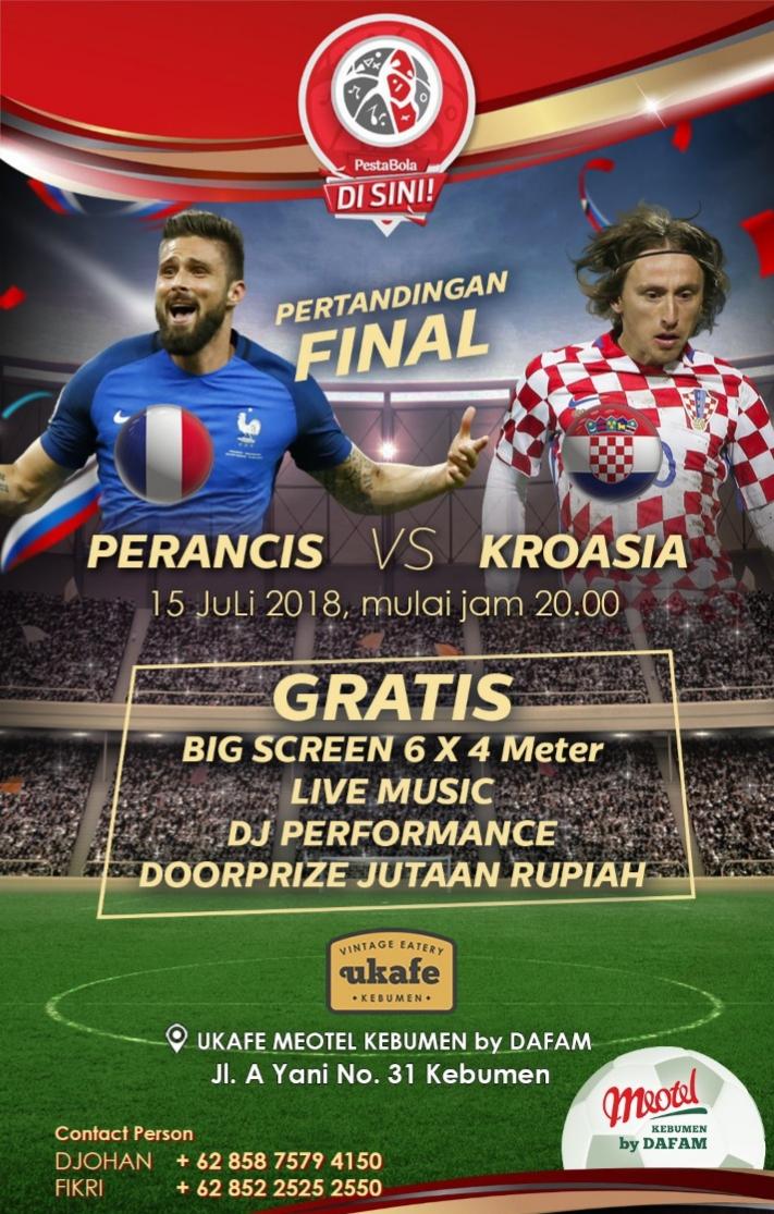 Malam ini, Meotel Kebumen Gelar Nobar Final Piala Dunia Bertabur Doorprize Jutaan Rupiah