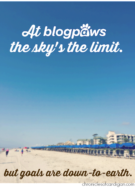 beachfront/resort scene with big sky and sand, BlogPaws logo/caption
