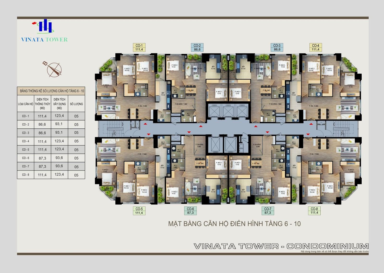 Mặt bằng điển hình tầng Vinata Tower