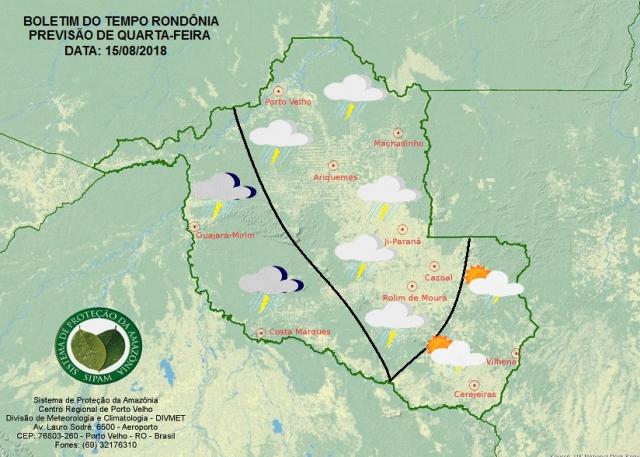 Tempo muda em Rondônia