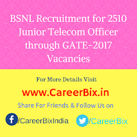 BSNL Recruitment for 2510 Junior Telecom Officer through GATE-2017 Vacancies