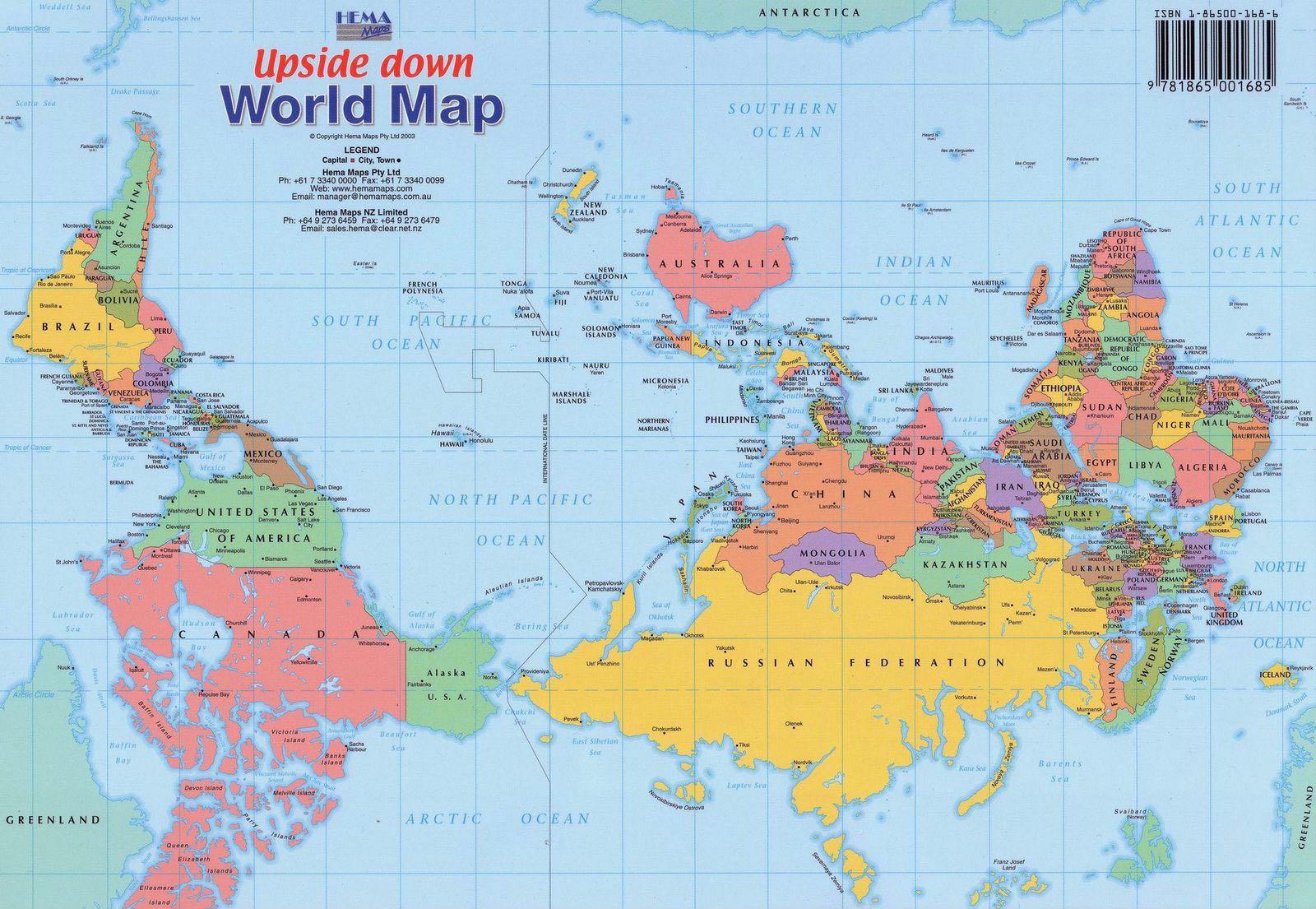 Leobrujuleo el mundo al revs upside down world map as bajo el ttulo the world upside down el mundo al revs australia gira en su mapa el eje vertical 180 grados gumiabroncs Images