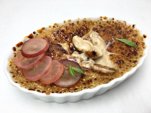 Cracked Toasted Hazelnut Crème Brûlée with Pickled Grape Slices