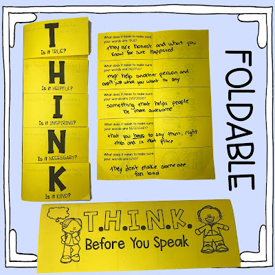 School counselor THINK before you speak foldable, self-reflection processing sheet.
