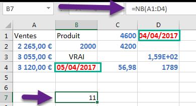 La fonction NB compte les dates