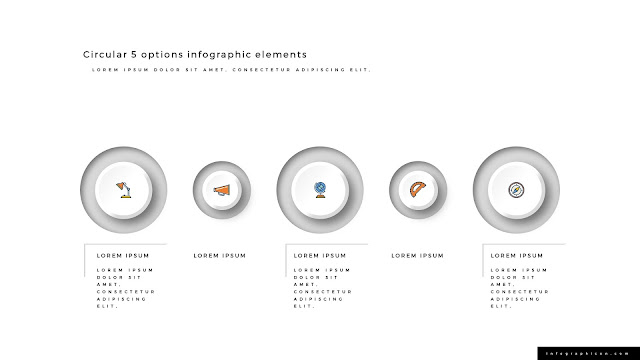 3D Circular 5 Options Infographics Elements Type A