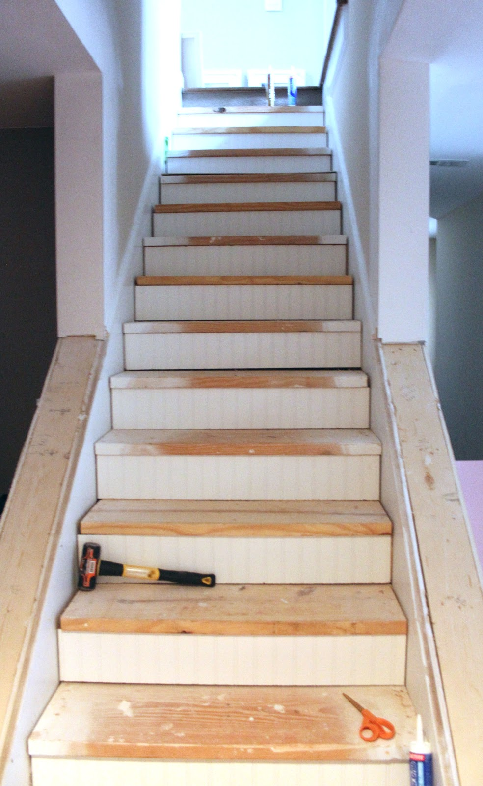 my enroute life ugly basement stairs update. Black Bedroom Furniture Sets. Home Design Ideas