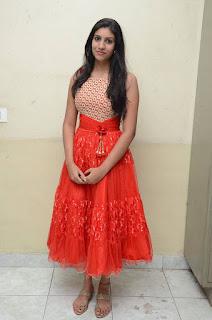 Actress Srilekha Stills in Red Dress at Oke Oka Aasa Movie Audio Launch  0028