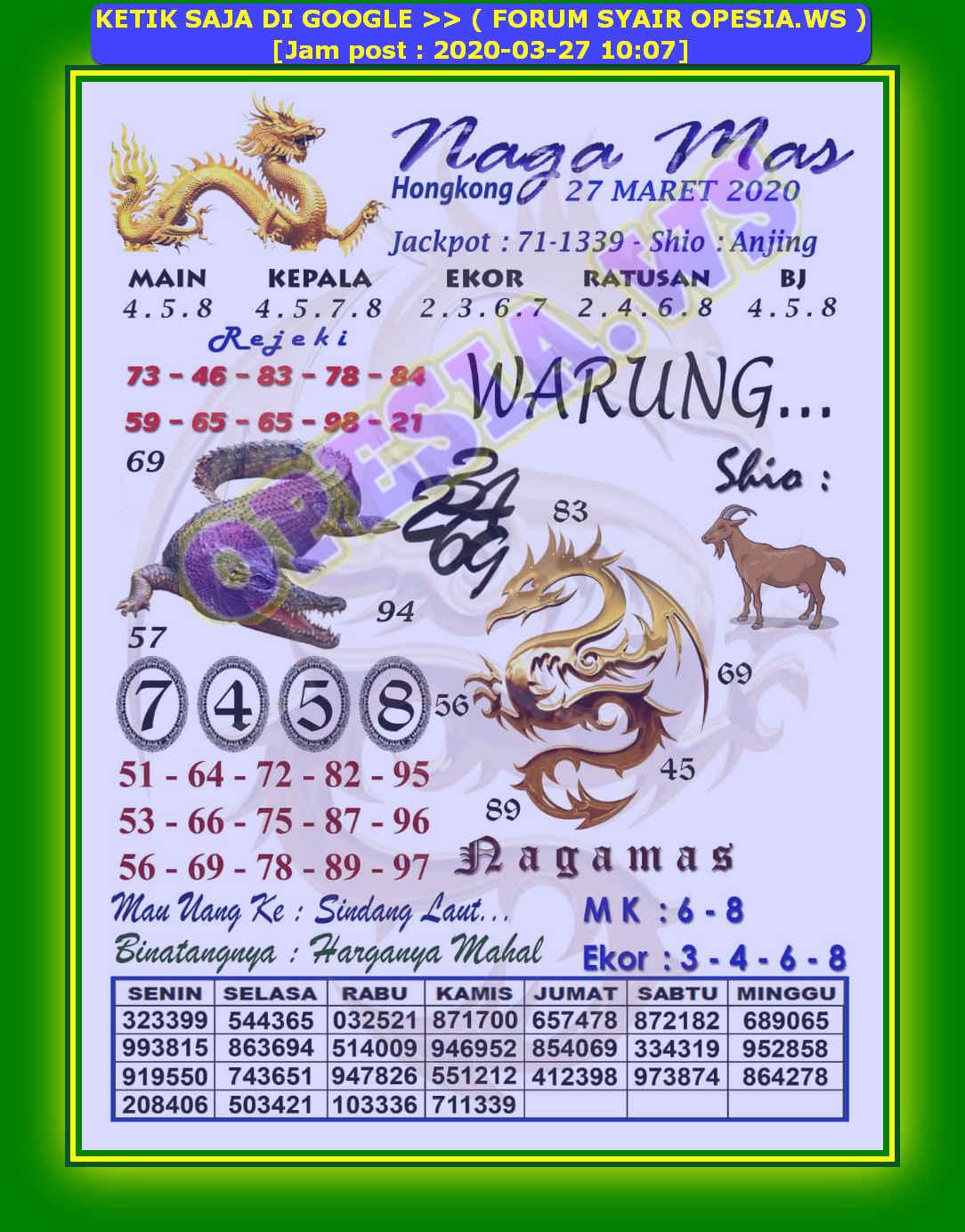 Kode syair Hongkong Jumat 27 Maret 2020 1