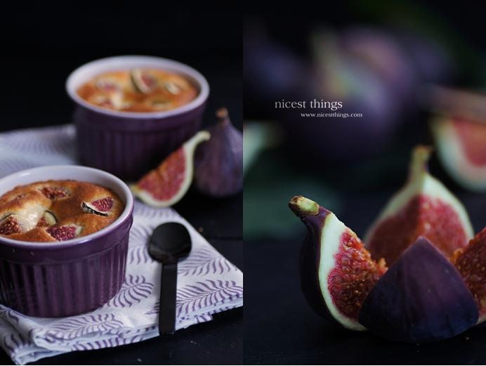 Feigen Soufflé in violetten Ramequins