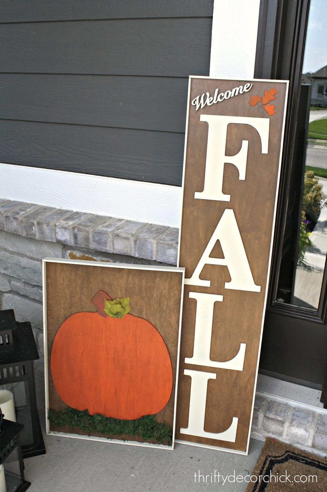 DIY pumpkin and fall wood signs