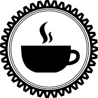 Publlc Doimain Spiky Circle Steamy Cup Coffee Badge Black and White