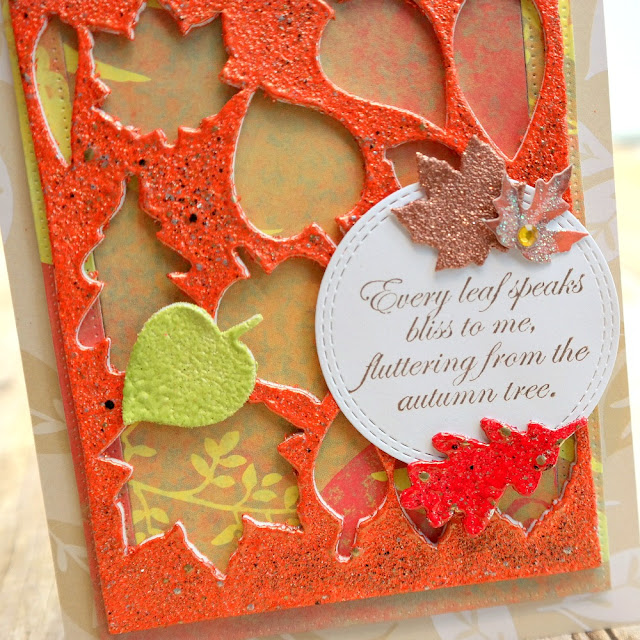 Embossed 3D Foam Leaves Fall Card Closeup by Dana Tatar for Scrapbook Adhesives by 3L