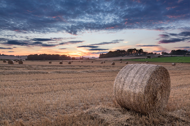 Hay bales at sunset in the warm Oxfordshire Cotswold landscape by Martyn Ferry Photography