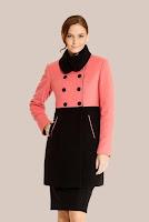 Palton frez cu negru matlasat din stofa de lana 433 (Ama Fashion)