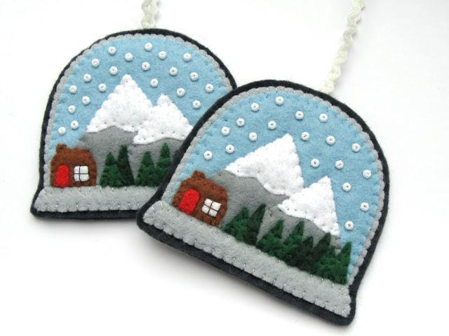 Felt Snow Globes Christmas Ornament Tutorial