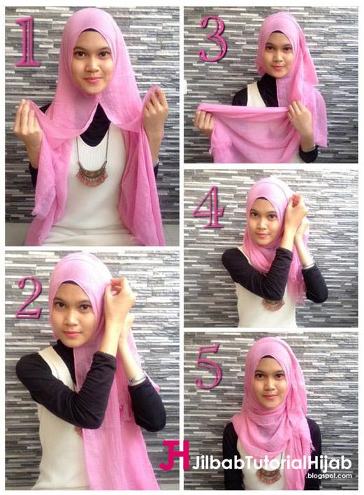 Kumpulan Gambar Tutorial Cara Memakai Hijab sederhana