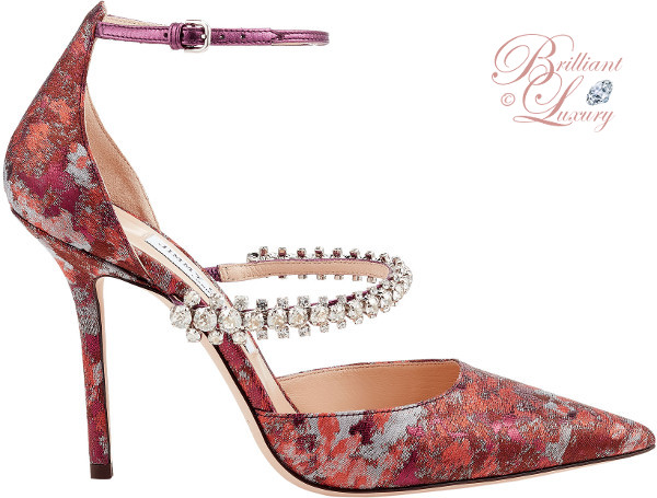 Jimmy Choo Bobbie pink mix painterly brocade crystal strappy pointy toe pumps #brilliantluxury