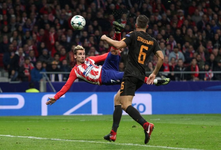 Atletico Madrid-Roma 2-0: favoloso Griezmann, espulso Bruno Peres | Calcio Champions League
