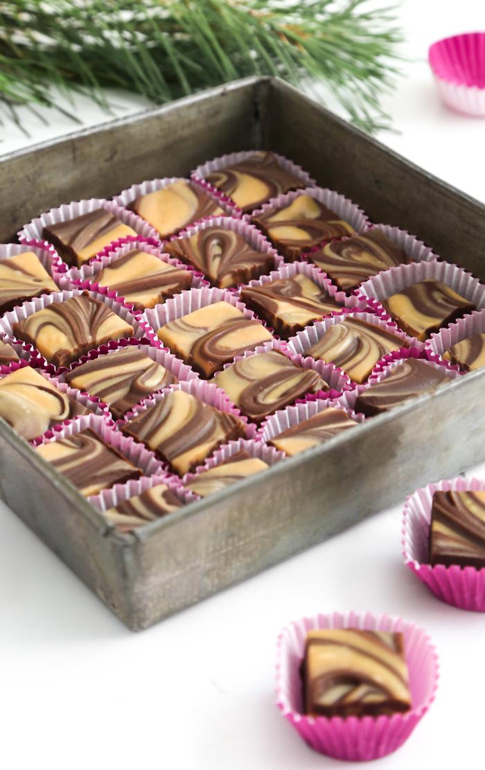 Gift This Easy Chocolate Peanut Butter Swirl Fudge