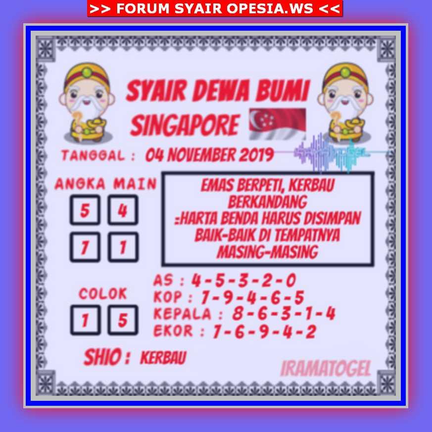 Kode syair Singapore Senin 4 November 2019 103