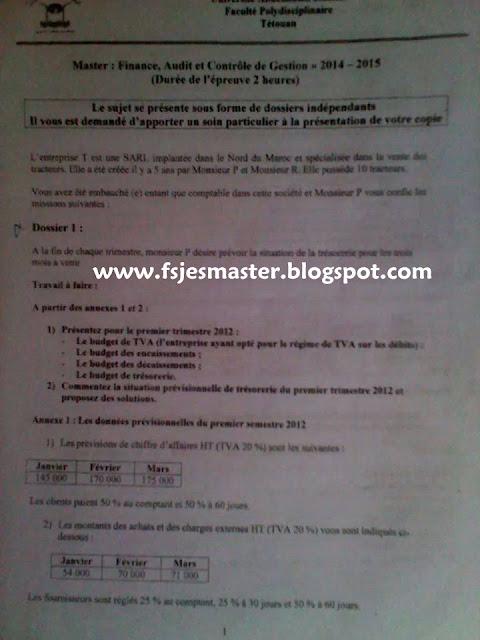 Concours Master Finance Audit et Controle de Gestion 2014-2015