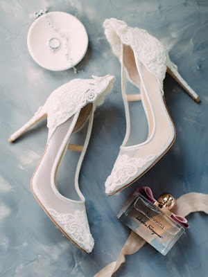 white wedding heels