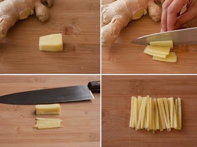 Create matchsticks of ginger