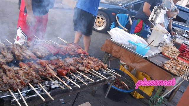 BBQ and Inihaw- grilled pig or chicken parts and organs like isaw (intestines), betamax (blood cubes), hotdog, squid, bangus, etc.