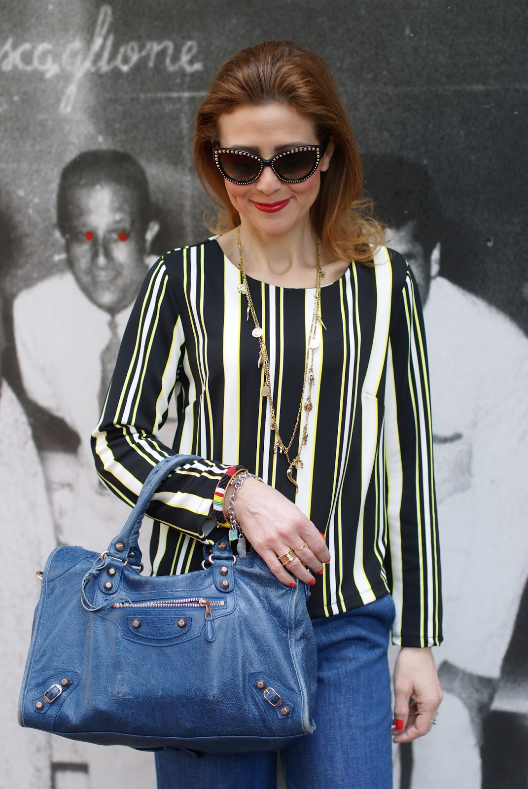 denim culotte pants and striped blouse with Balenciaga City bag on Fashion and Cookies fashion blog, fashion blogger style