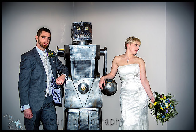 Cool wedding, bride groom and robot