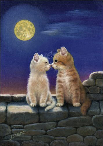 Открытки добрый вечер с кошками
